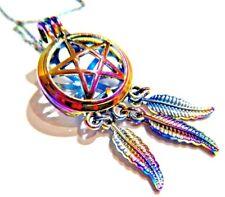 RAINBOW PENTAGRAM DREAMCATCHER NECKLACE pearl cage locket pendant wiccan M2