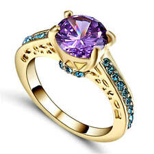 Purple Amethyst yellow Rhodium Plated Engagement Ring Women's Jewelry Size 8