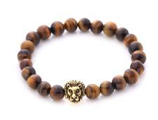 Handmade Tigerauge Edelstein Armband mit Löwen Kopf Lion Löwe Gold Natur Stein