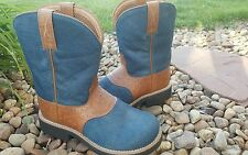 """Women's TWISTED X """"BARN BURNER"""" K TOE 8"""" BLUE HAIRED/TOOLED LEATHER BOOTS sz 6"""