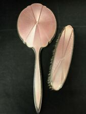 Vintage Sterling Silver-Vanity Hand Mirror & Brush Enamel Guilloche ,Art Deco