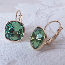Sage Green Crystal Drop Earring w/ Cushion Cut Swarovski Rhinestone Jewelry Gift