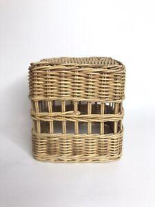 Vintage Wicker Rattan Tissue Box Boho Home Decor
