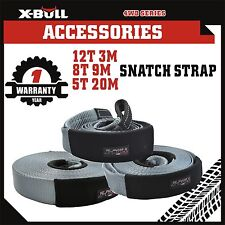 X-BULL  Snatch Strap Recovery Kit 5T 8T 12T Tow Straps 4WD Offroad 3PCS