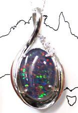 Opal Size 14x10mm Women Opal Jewelry Diamond Solid Sterling Silver 18ct WGP