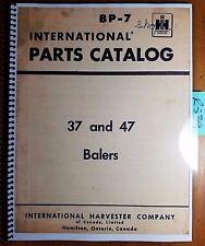 IH International Harvester 37 47 Baler 501G- Parts Catalog Manual BP-7 Rev 1 '64