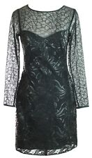 Karen Millen Black Dress Size UK 8 to 10 Faux Leather Sequin Mesh Pencil Dress