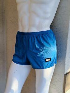 Vintage 70s 80s Nike Blue Running Shorts Nylon polyester Gym Shorts Men's Medium