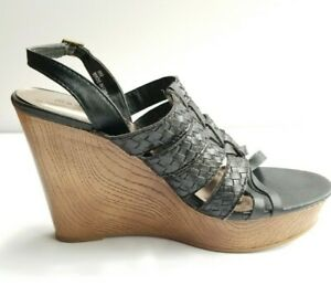 Madden Girl Cilo Black Wedge Sandals Women's Size 9