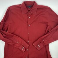 Banana Republic Mens Button Front Shirt Red Long Sleeve Point Collar Stretch L