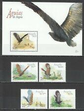 J1307 2003 ANGOLA FAUNA BIRDS OF PREY EAGLES 1SET+1BL MNH