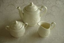 Wedgwood Patrician Teapot Sugar with Lid Creamer Tea Set Cream Ware 3 pc Lot