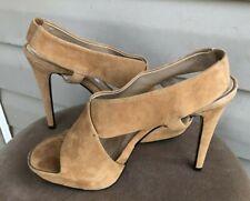 Diane von Furstenberg Camel Suede Leather Zia Criss Cross Platform Sandals 7.5M