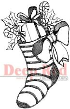Deep Red Stamps Christmas Stocking Rubber Cling Stamp