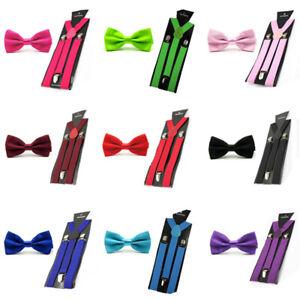 Men Fashion Satin Solid Color Bowtie Bow Tie Elastic Y-Back Suspender Brace Set