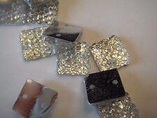 10 X 10mm  25 Acrylic Crystal Clear Square Silver Back Sew on Rhinestone (B-14)