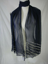 INC INTERNATIONAL CONCEPTS SCARF WRAP WHITE Sequin-Striped Sheer NAVY BLUE NWT