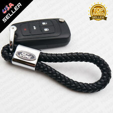 Universal Black Ford Leather Alloy Keychain Decoration Gift Accessories Emblem