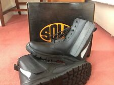 Unico compagno IN ACCIAIO PUNTA RIDOTTA ad alto Let Work Boots-Taglia 12 - (con Lacci e Zip-Up)