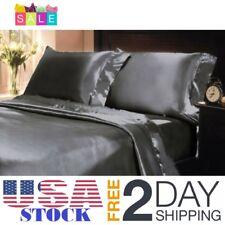 California King Bed Sheet Set Royal Opulence GRAY Satin Silk Soft Bedding New