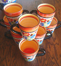 set of 9 coffee mugs cups  222 fifth nasreen primary colors dinnerware