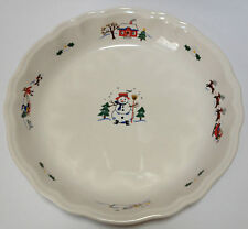 Pfaltzgraff Snow Village Pie Serving Plate Dish Round Ruffled Edge Excellent!