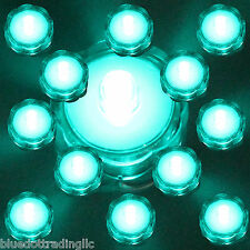 Turquoise Submersible Waterproof Battery Led Tea Light Wedding Decoration 12 Pk