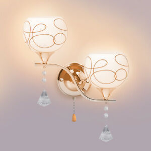 1/2x Modern LED Crystal Glass Wall Light Sconce Hallway E27Lamp Lighting Fixture
