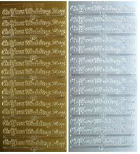 ON YOUR WEDDING DAY Peel Off Stickers Sentiments Gold or Silver Crafts