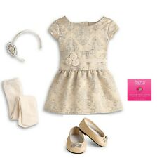 Authentic American Girl Doll Clothes Brocade Holiday Dress Outfit Shoes Charm