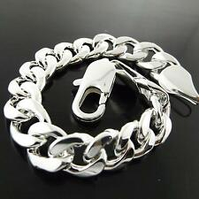 Bracelet Bangle Genuine Real 925 Sterling Silver S/F Solid Men'S Curb Cuban Link