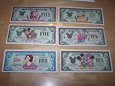 DISNEY DOLLARS (6) RARE $5.00'& $10.00's -YEARS 1987 TO 2002