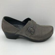 Dansko Womens Tamara Clogs Shoes Gray Leather Wedge Slip On Buckle 8.5-9 EUR 39