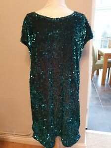 Lush next Green shift Sequin Party Dress Size 14