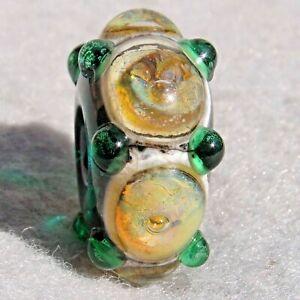 LAMBEAU Handmade Large-Hole Art Glass Bead Flaming Fools Lampwork Art Glass SRA