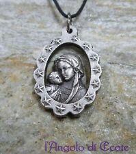 Medaglietta amuleto talismano protezione famiglia MADONNA CON BAMBINO metallo