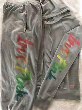 Victoria's Secret Love PINK Rainbow Hoodie Jacket Campus Crop Pants Small S