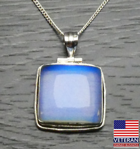 Vintage Sterling Silver Square Opaque Blue Pendant Curb Chain Necklace 16 inches