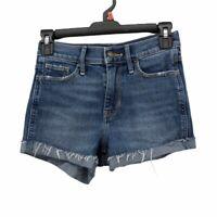 Hollister Womens High Rise Denim Shorts Blue Cuffed Hem Vintage Stretch 00