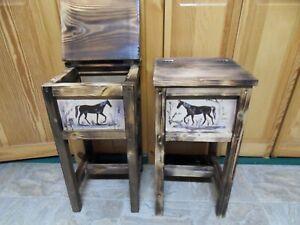 Set of 2 rustic horse endtables, nightstands, solid wood, handmade handpainted