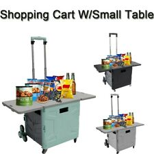 Folding Shopping Cart Ladder Wheel 55l With Small Table Cover Gray Picnic Cart