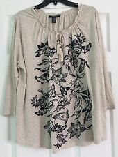Style&Co. Women's  Plus Size 1X Embroidered Blouse Peasant Style Top Beige NWT