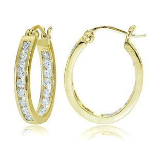 Yellow Gold Flashed Sterling Silver CZ Channel Set Inside-Out Oval Hoop Earrings