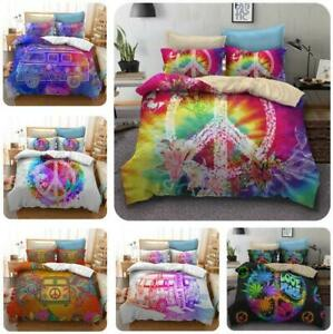 Love and Peace Hippie Quilt Duvet Cover Bedding Set Single Double King Size UK
