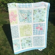 Pottery Barn Kids Twin Size Patchwork Quilt Blue Floral Girls Room