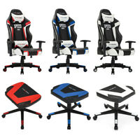 High Back Recliner Seat Gaming Chair Office Adjustable Swivel/PU Footstool Chair
