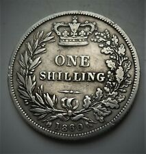 More details for 1860 victoria silver shilling  coin, lovely coin, rare high 6 over 6