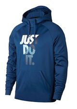 "NIKE MEN THERMA TRAINING ""JUST DO IT"" HOODIE  Medium Gym Blue 905667408 NEW $55"