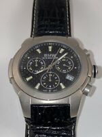 Vintage BMW Titanium Case Chronograph Racing Watch Leather Strap Water Resistant