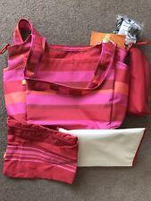 BNWT Okiedog - Sasha Baby Changing Bag. Pink Stripe. Bottle Bag - Matt - Clips